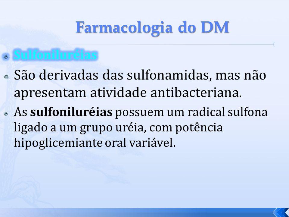 Farmacologia do DM Sulfoniluréias. São derivadas das sulfonamidas, mas não apresentam atividade antibacteriana.