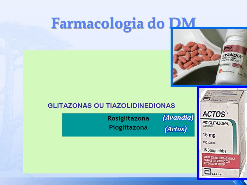 Farmacologia do DM (Avandia) (Actos)