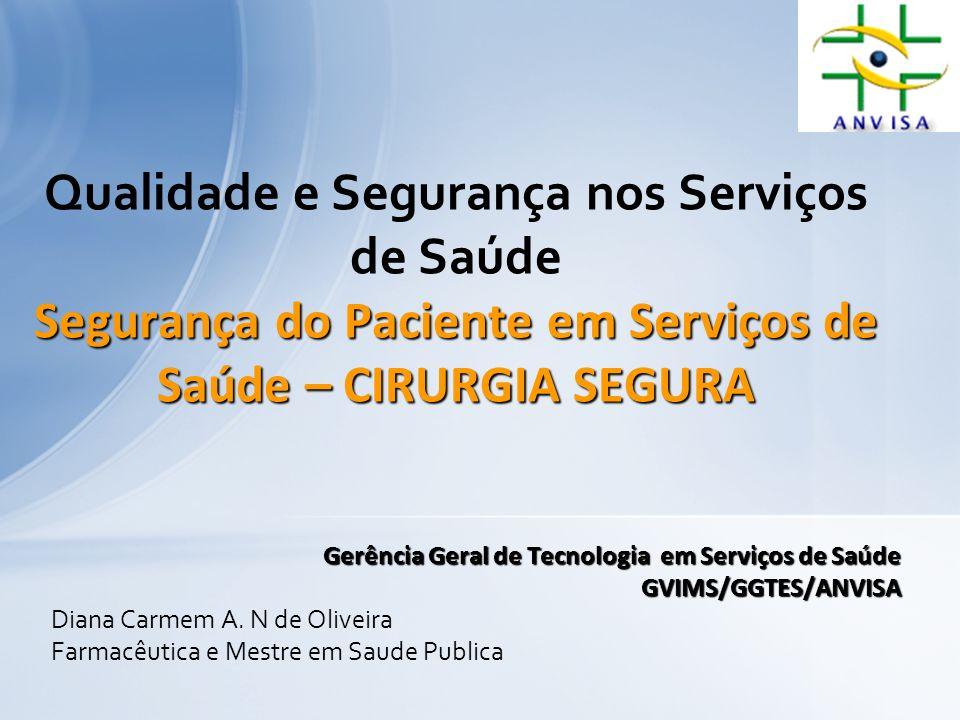 Qualidade e Segurança nos Serviços de Saúde Segurança do Paciente em Serviços de Saúde – CIRURGIA SEGURA