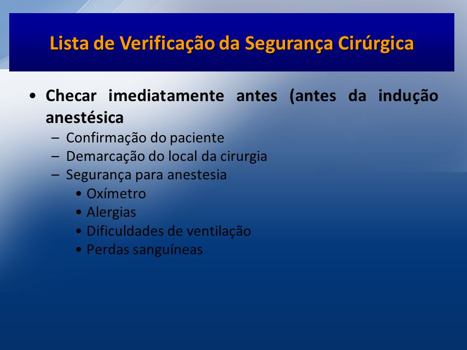 Lista de Verificação da Segurança Cirúrgica