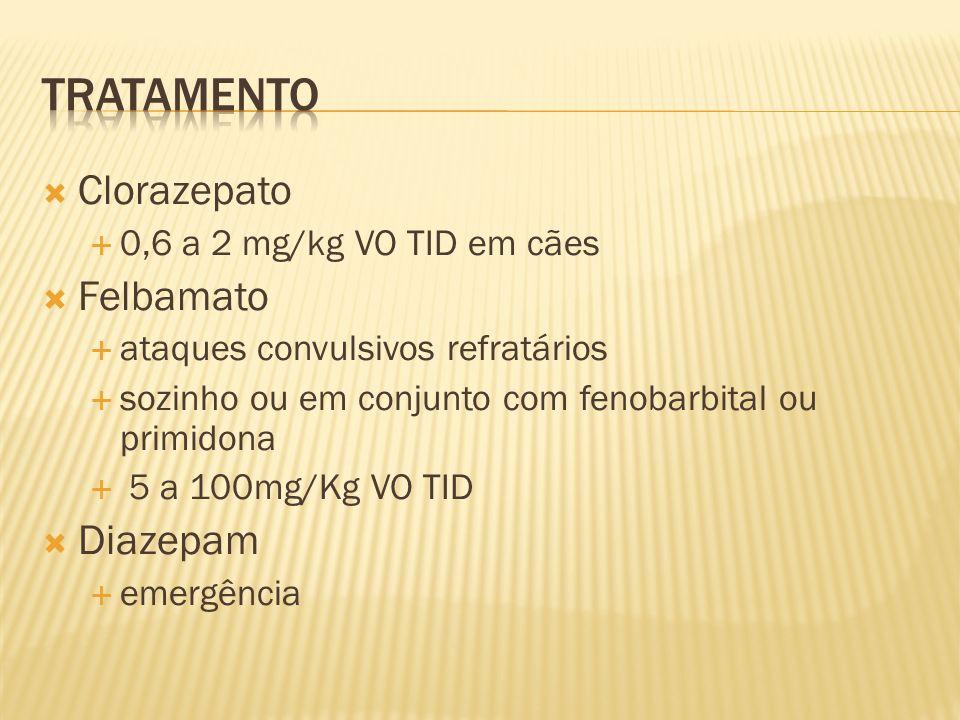 Tratamento Clorazepato Felbamato Diazepam 0,6 a 2 mg/kg VO TID em cães