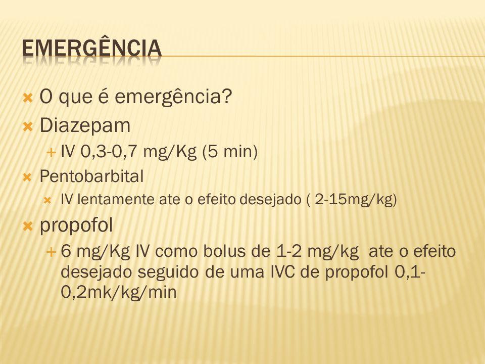 Emergência O que é emergência Diazepam propofol