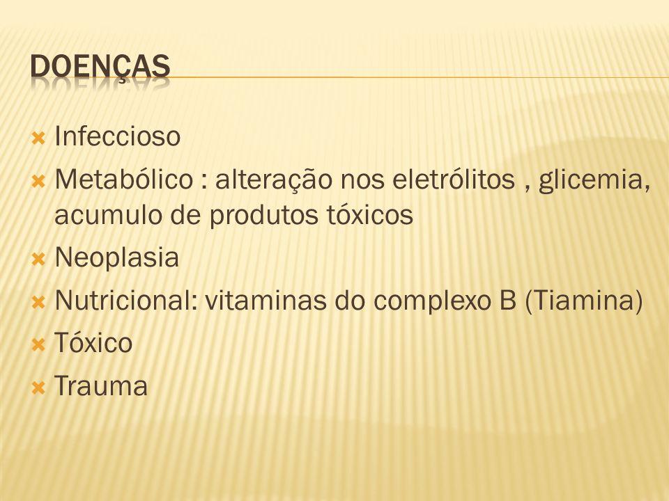 Doenças Infeccioso. Metabólico : alteração nos eletrólitos , glicemia, acumulo de produtos tóxicos.