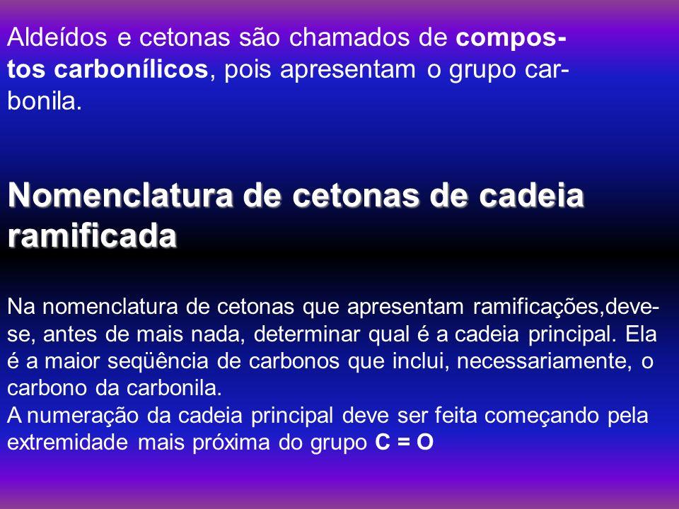 Nomenclatura de cetonas de cadeia ramificada