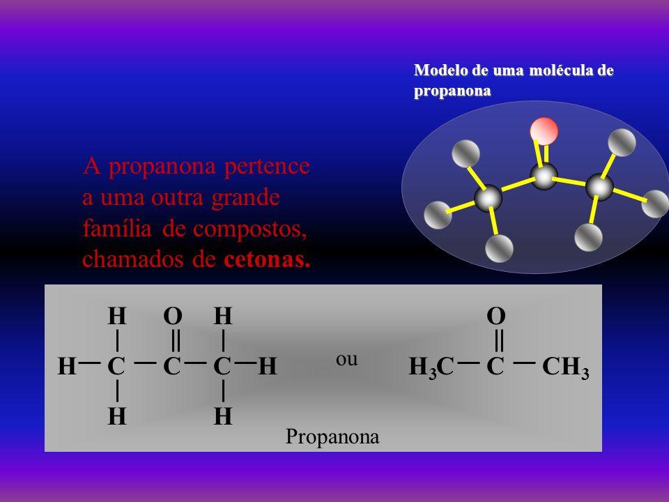 Modelo de uma molécula de propanona