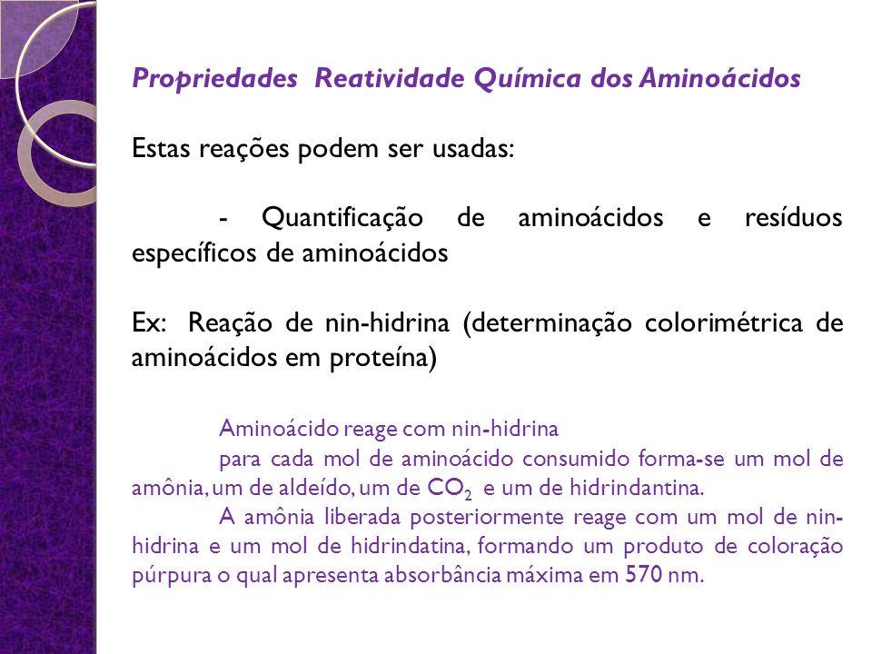 Propriedades Reatividade Química dos Aminoácidos