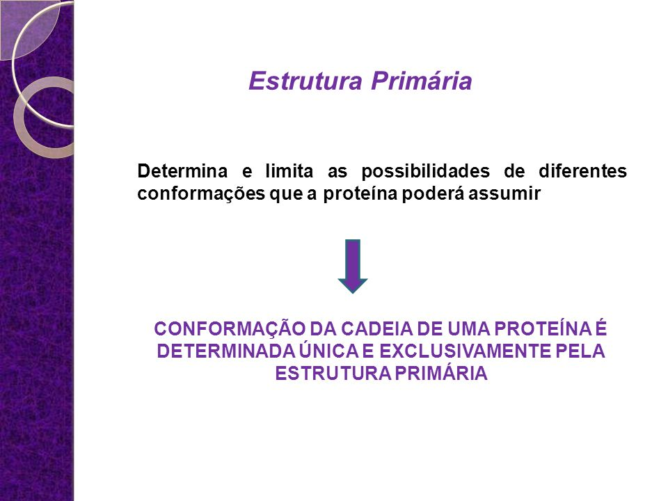 Estrutura Primária Determina e limita as possibilidades de diferentes conformações que a proteína poderá assumir.