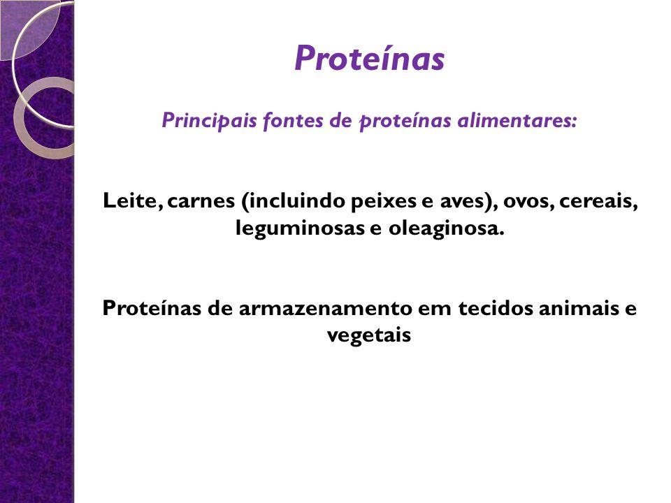 Proteínas Principais fontes de proteínas alimentares: