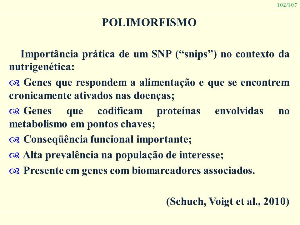 Polimorfismo Importância prática de um SNP ( snips ) no contexto da nutrigenética: