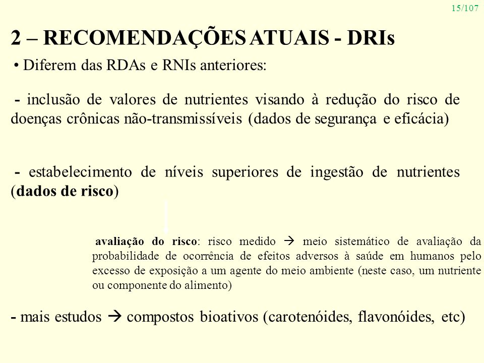 2 – RECOMENDAÇÕES ATUAIS - DRIs