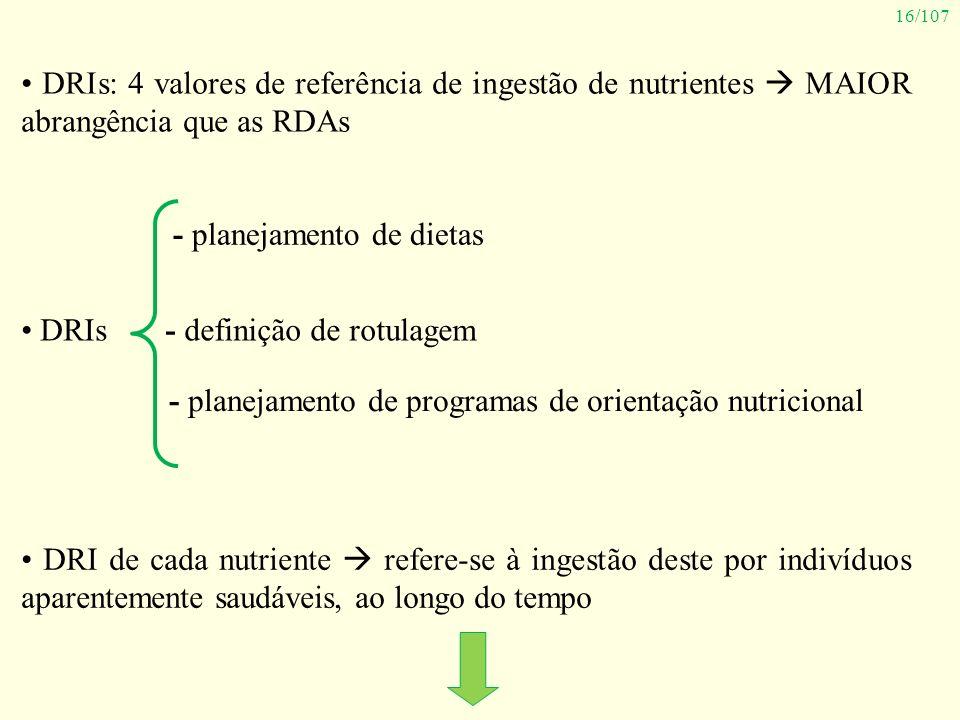 • DRIs: 4 valores de referência de ingestão de nutrientes  MAIOR abrangência que as RDAs