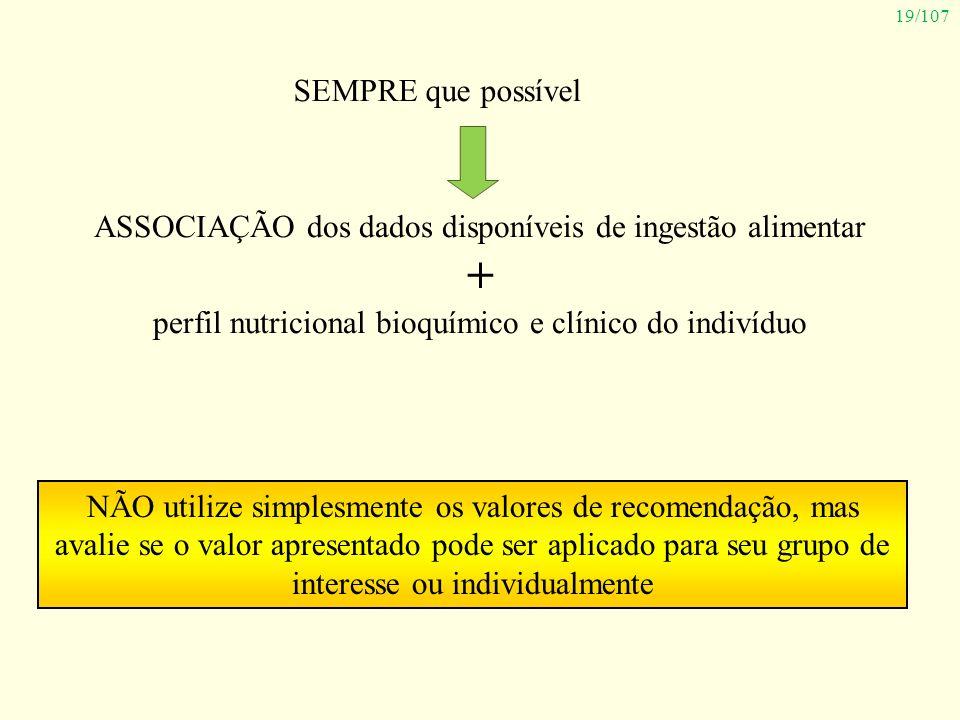 SEMPRE que possível ASSOCIAÇÃO dos dados disponíveis de ingestão alimentar. + perfil nutricional bioquímico e clínico do indivíduo.