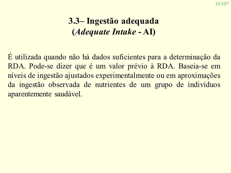 3.3– Ingestão adequada (Adequate Intake - AI)