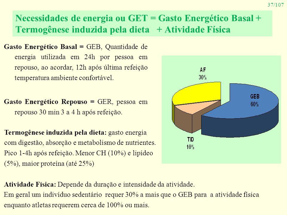 Necessidades de energia ou GET = Gasto Energético Basal + Termogênese induzida pela dieta + Atividade Física