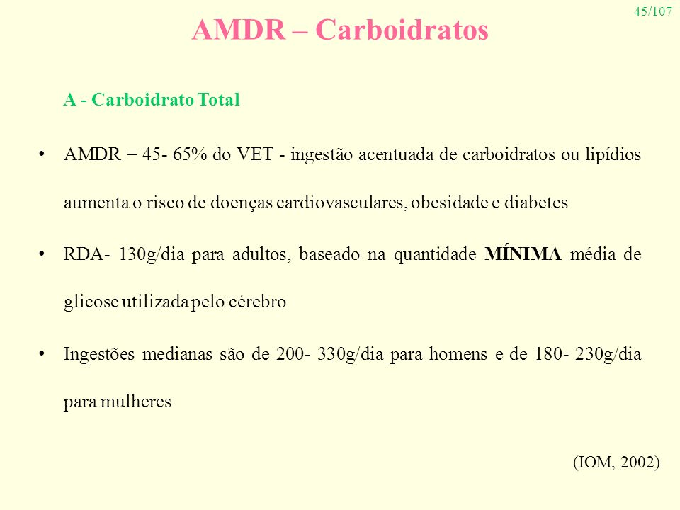 AMDR – Carboidratos A - Carboidrato Total