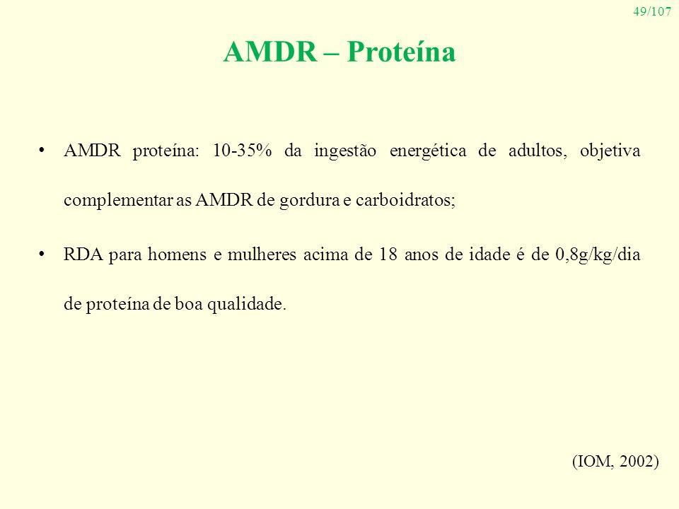 AMDR – Proteína AMDR proteína: 10-35% da ingestão energética de adultos, objetiva complementar as AMDR de gordura e carboidratos;