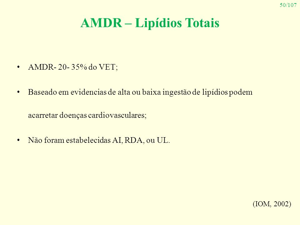 AMDR – Lipídios Totais AMDR- 20- 35% do VET;