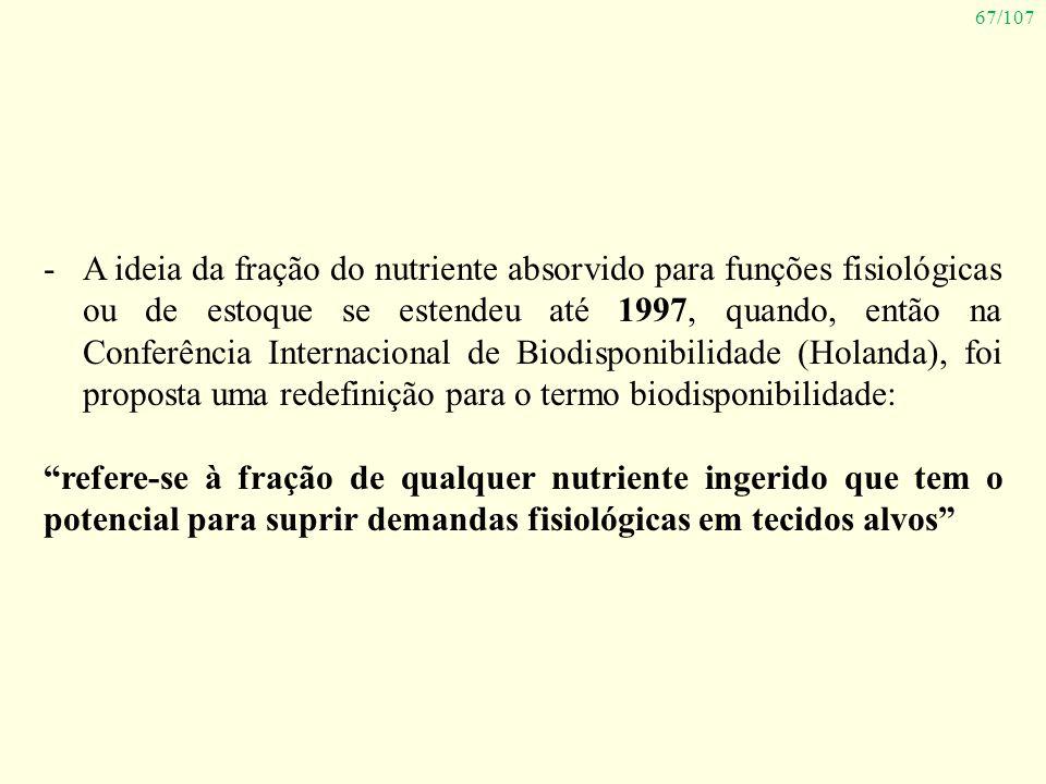 A ideia da fração do nutriente absorvido para funções fisiológicas ou de estoque se estendeu até 1997, quando, então na Conferência Internacional de Biodisponibilidade (Holanda), foi proposta uma redefinição para o termo biodisponibilidade: