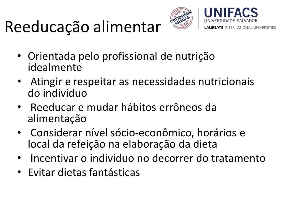 Reeducação alimentar Orientada pelo profissional de nutrição idealmente. Atingir e respeitar as necessidades nutricionais do indivíduo.