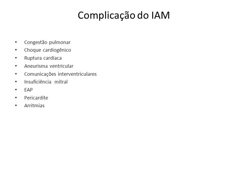 Complicação do IAM Congestão pulmonar Choque cardiogênico