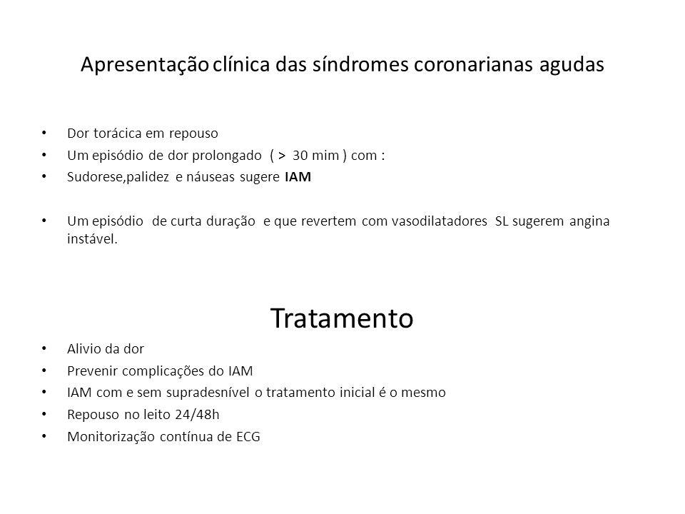 Apresentação clínica das síndromes coronarianas agudas