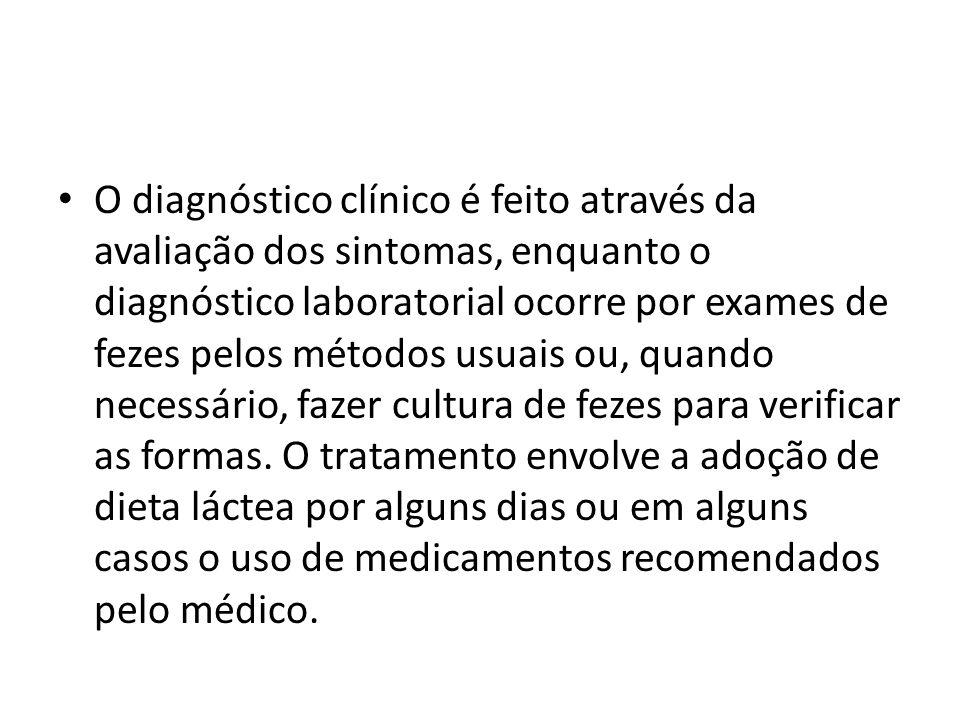 O diagnóstico clínico é feito através da avaliação dos sintomas, enquanto o diagnóstico laboratorial ocorre por exames de fezes pelos métodos usuais ou, quando necessário, fazer cultura de fezes para verificar as formas.