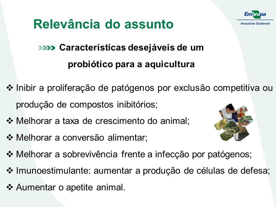Características desejáveis de um probiótico para a aquicultura