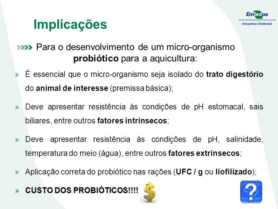 Implicações Para o desenvolvimento de um micro-organismo probiótico para a aquicultura: