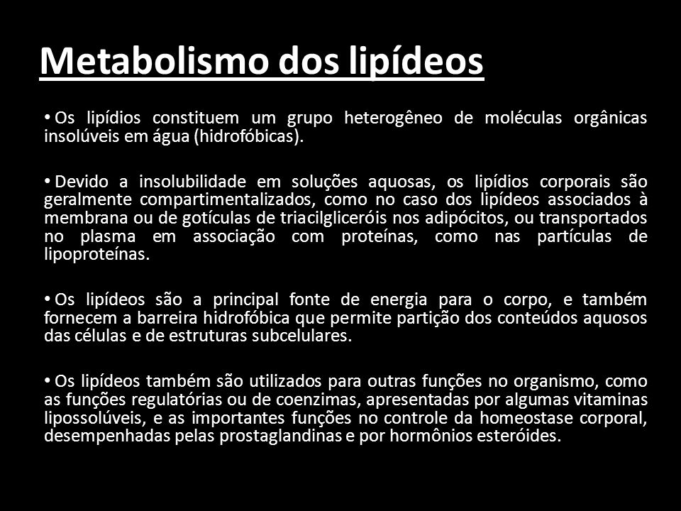 Metabolismo dos lipídeos