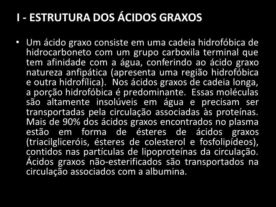I - ESTRUTURA DOS ÁCIDOS GRAXOS