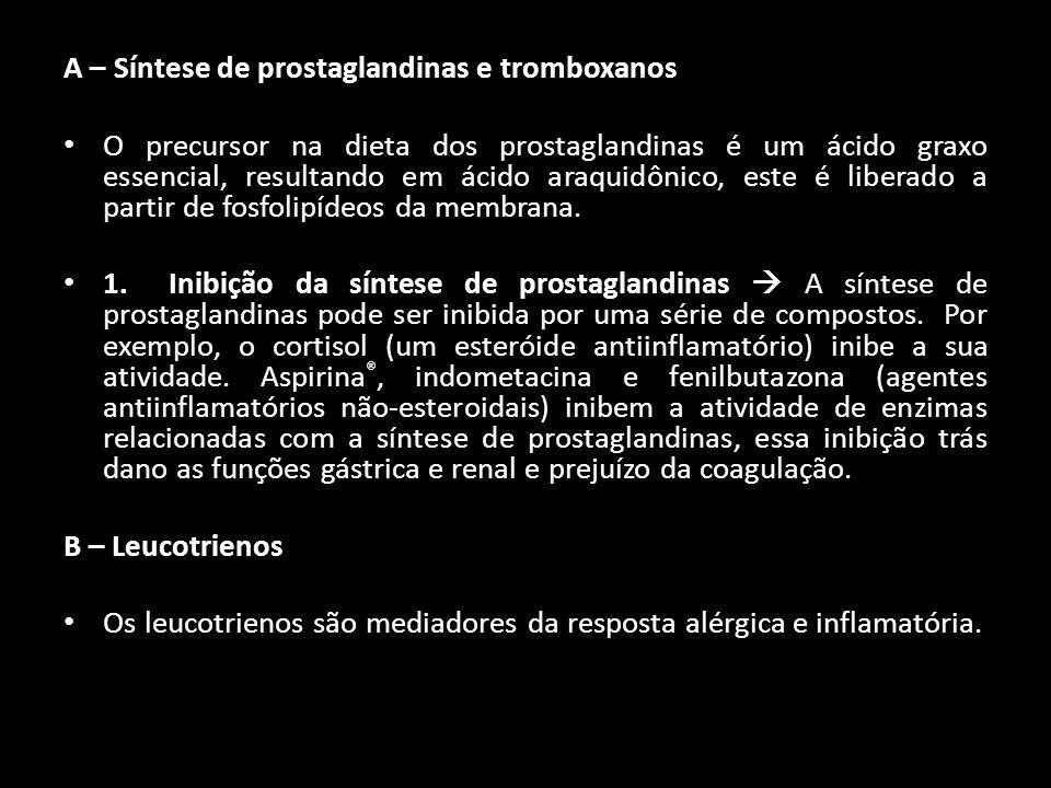 A – Síntese de prostaglandinas e tromboxanos