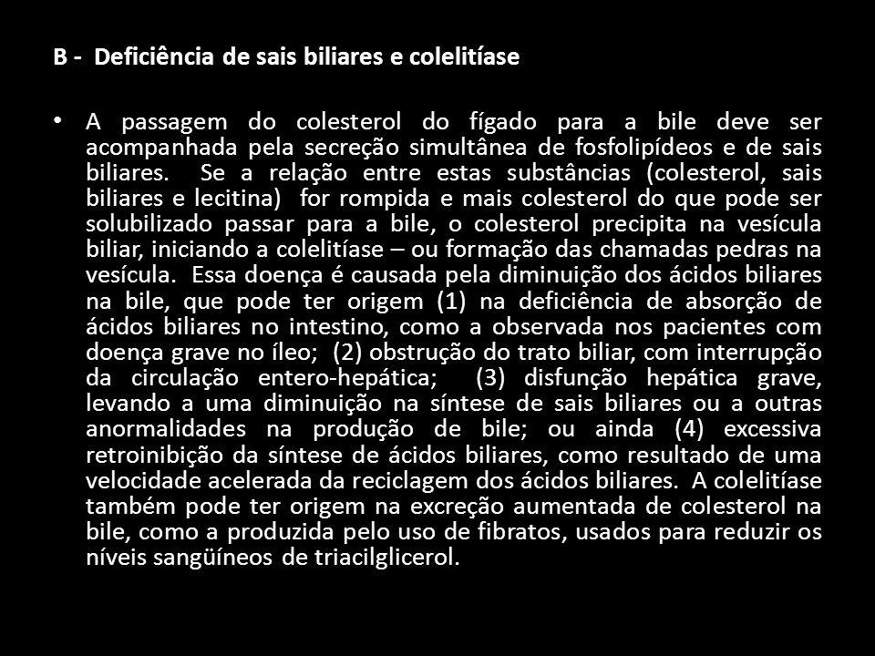 B - Deficiência de sais biliares e colelitíase