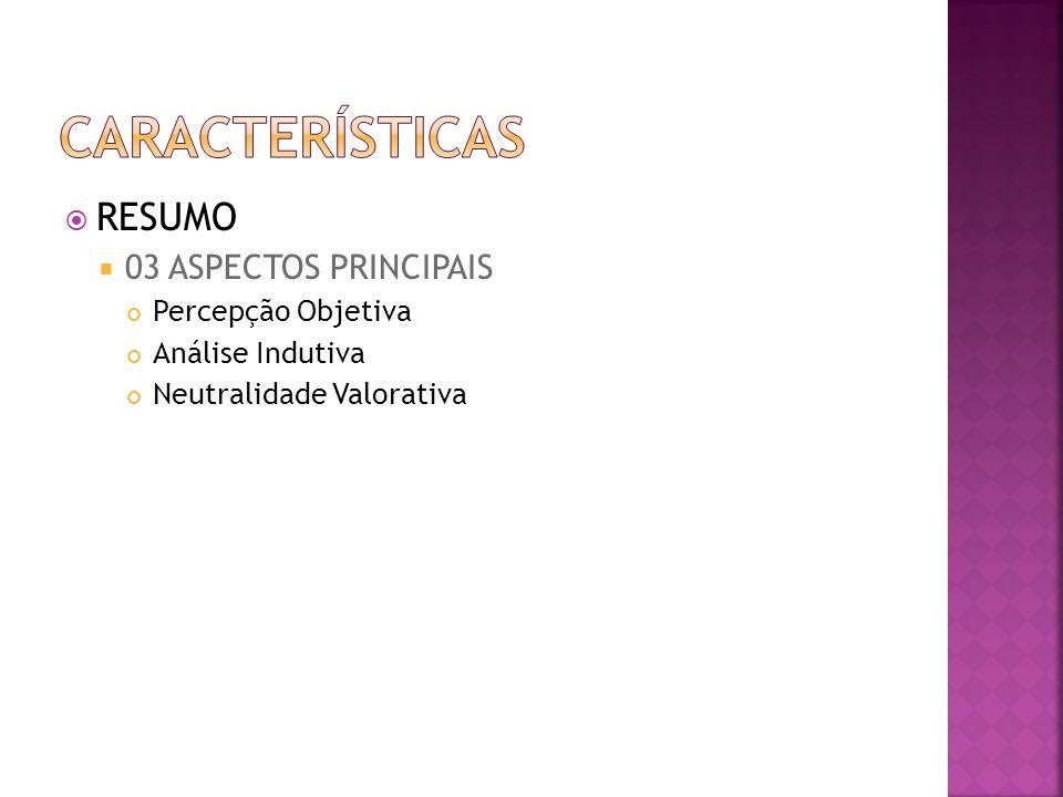 características RESUMO 03 ASPECTOS PRINCIPAIS Percepção Objetiva
