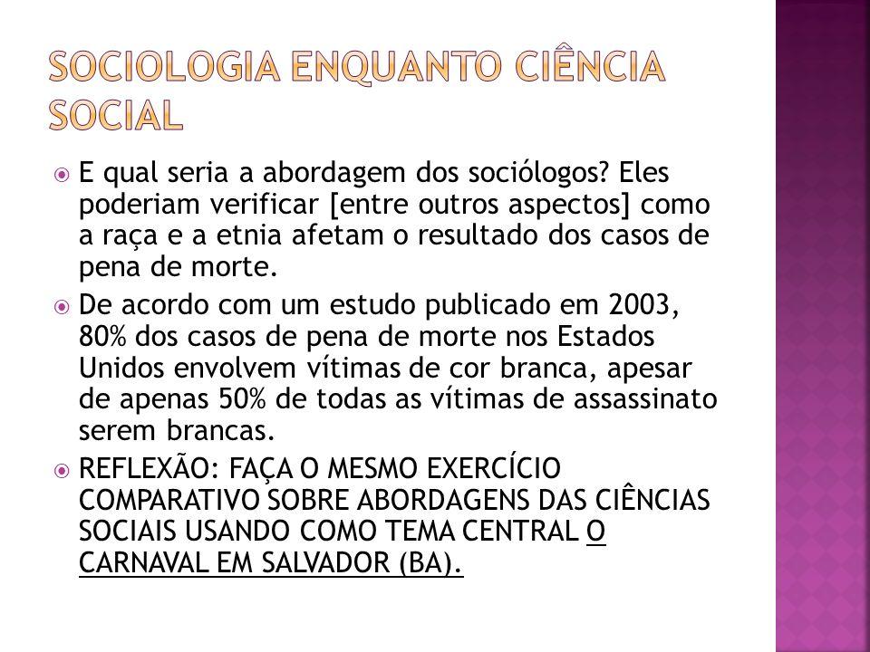 Sociologia enquanto ciência social