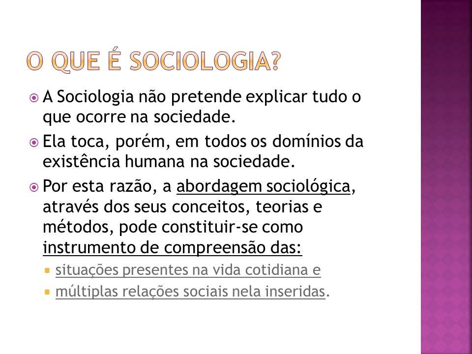 O que é sociologia A Sociologia não pretende explicar tudo o que ocorre na sociedade.