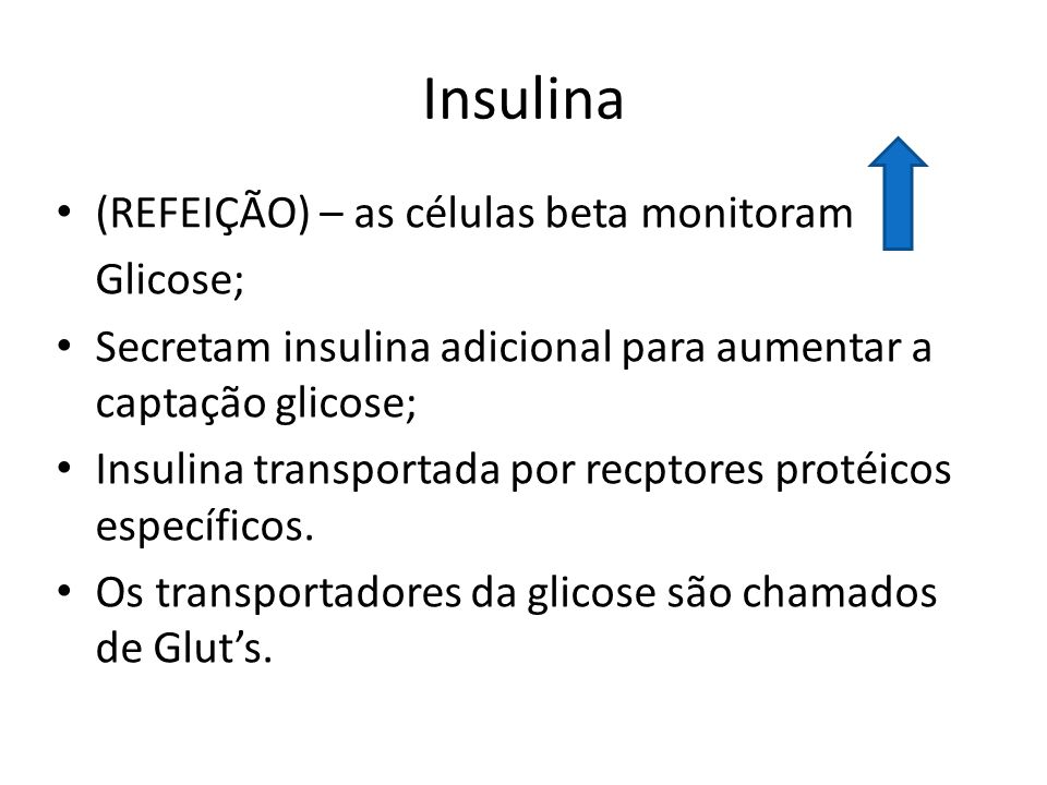 Insulina (REFEIÇÃO) – as células beta monitoram Glicose;