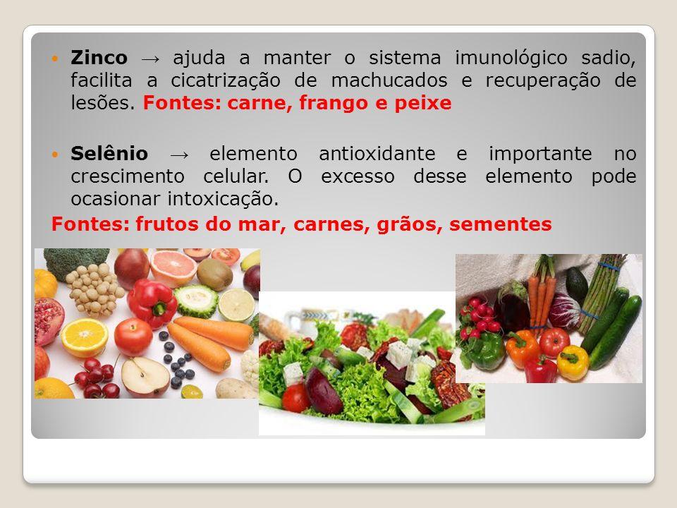Zinco → ajuda a manter o sistema imunológico sadio, facilita a cicatrização de machucados e recuperação de lesões. Fontes: carne, frango e peixe