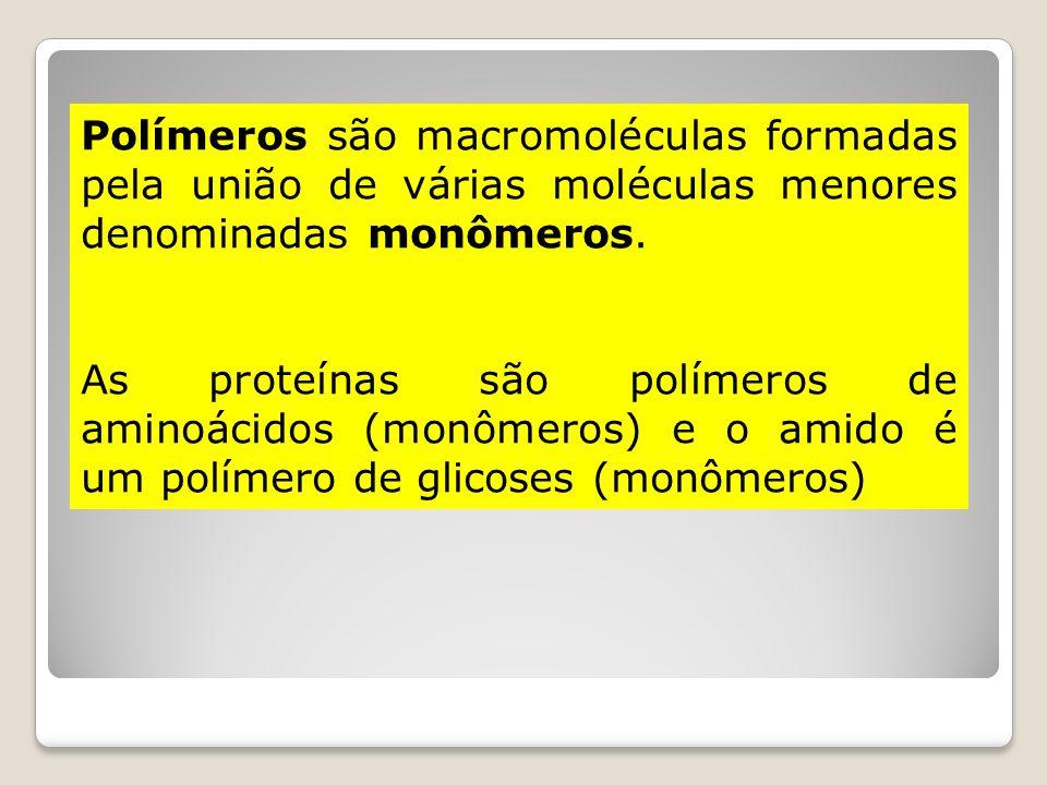 Polímeros são macromoléculas formadas pela união de várias moléculas menores denominadas monômeros.