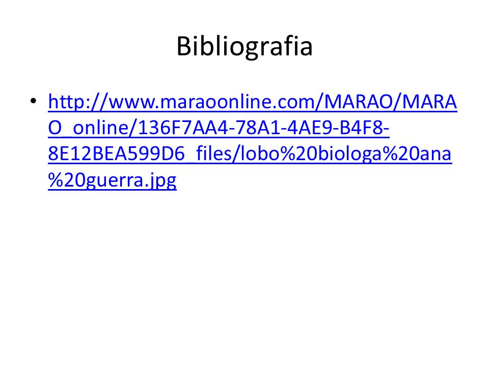 Bibliografia http://www.maraoonline.com/MARAO/MARAO_online/136F7AA4-78A1-4AE9-B4F8-8E12BEA599D6_files/lobo%20biologa%20ana%20guerra.jpg.