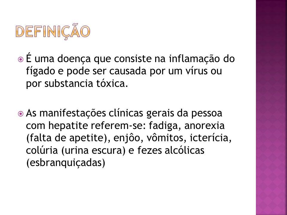 Definição É uma doença que consiste na inflamação do fígado e pode ser causada por um vírus ou por substancia tóxica.