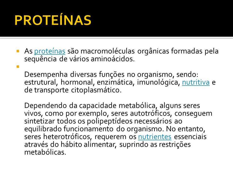PROTEÍNAS As proteínas são macromoléculas orgânicas formadas pela sequência de vários aminoácidos.