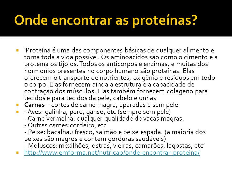 Onde encontrar as proteínas