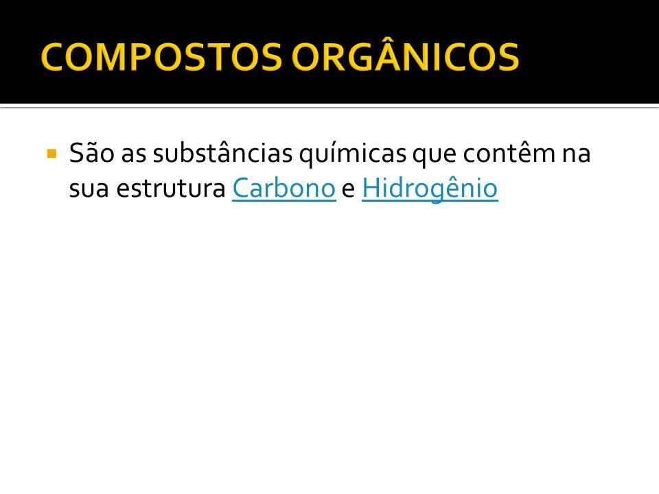 COMPOSTOS ORGÂNICOS São as substâncias químicas que contêm na sua estrutura Carbono e Hidrogênio