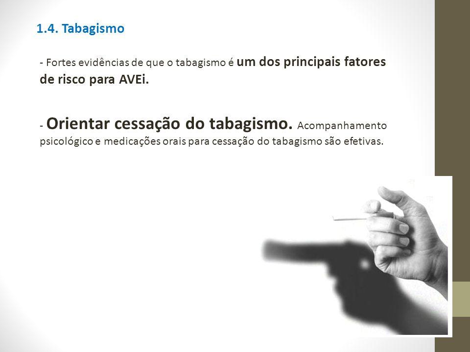 1.4. Tabagismo - Fortes evidências de que o tabagismo é um dos principais fatores de risco para AVEi.