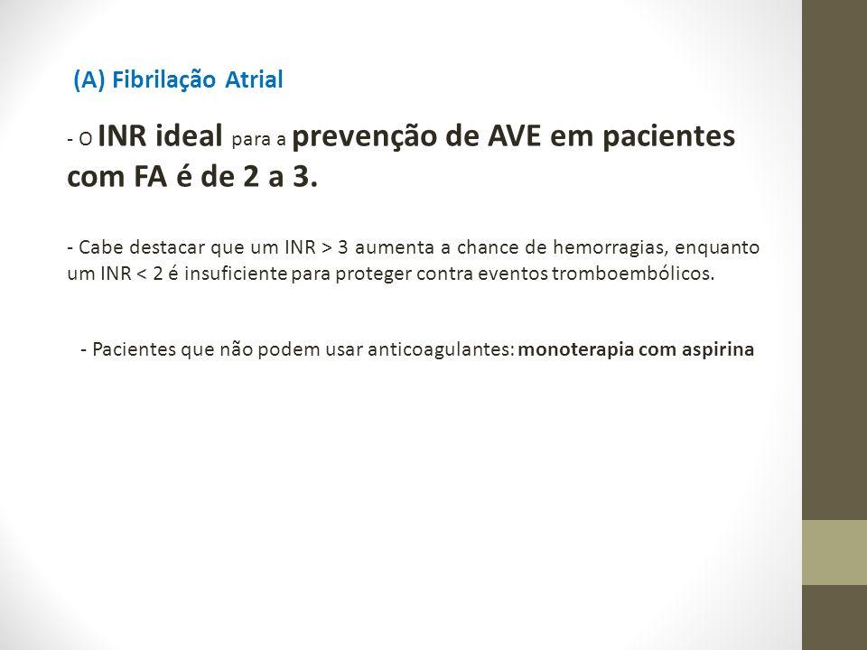 - O INR ideal para a prevenção de AVE em pacientes com FA é de 2 a 3.
