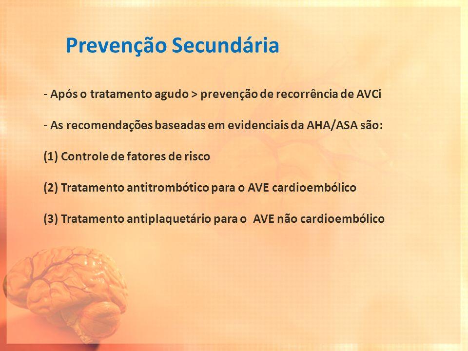 Prevenção Secundária Após o tratamento agudo > prevenção de recorrência de AVCi. As recomendações baseadas em evidenciais da AHA/ASA são: