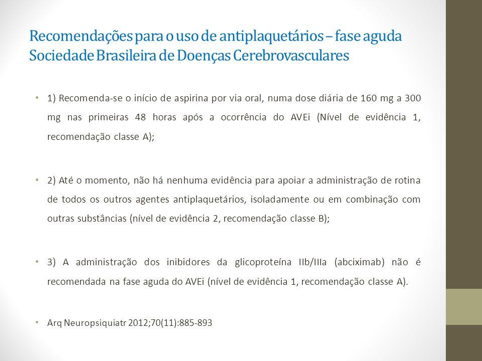 Recomendações para o uso de antiplaquetários – fase aguda Sociedade Brasileira de Doenças Cerebrovasculares