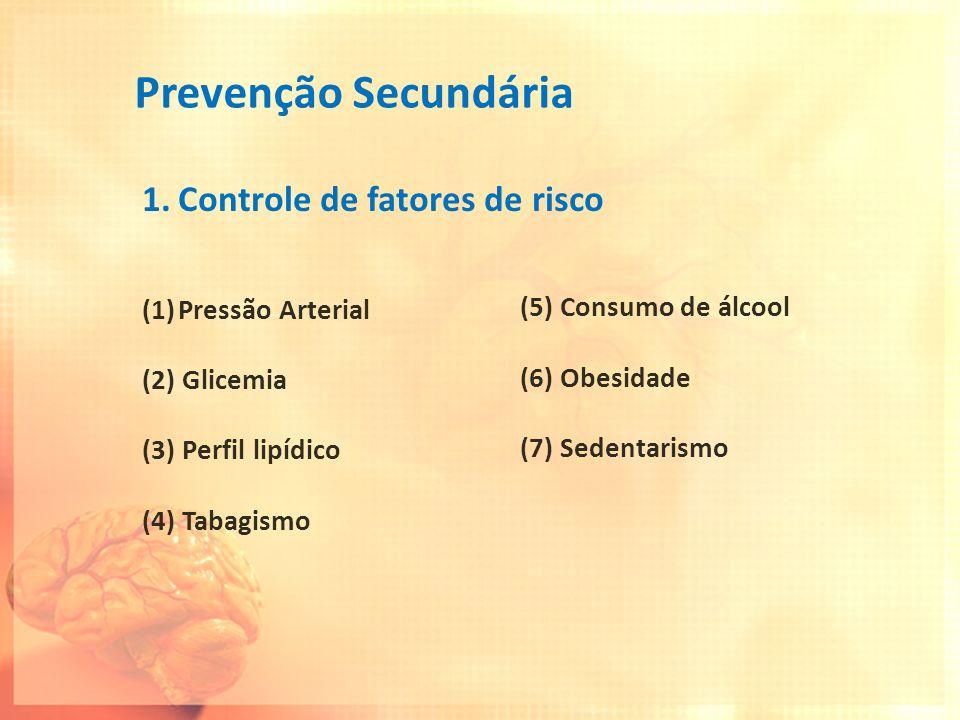 Prevenção Secundária Controle de fatores de risco Pressão Arterial
