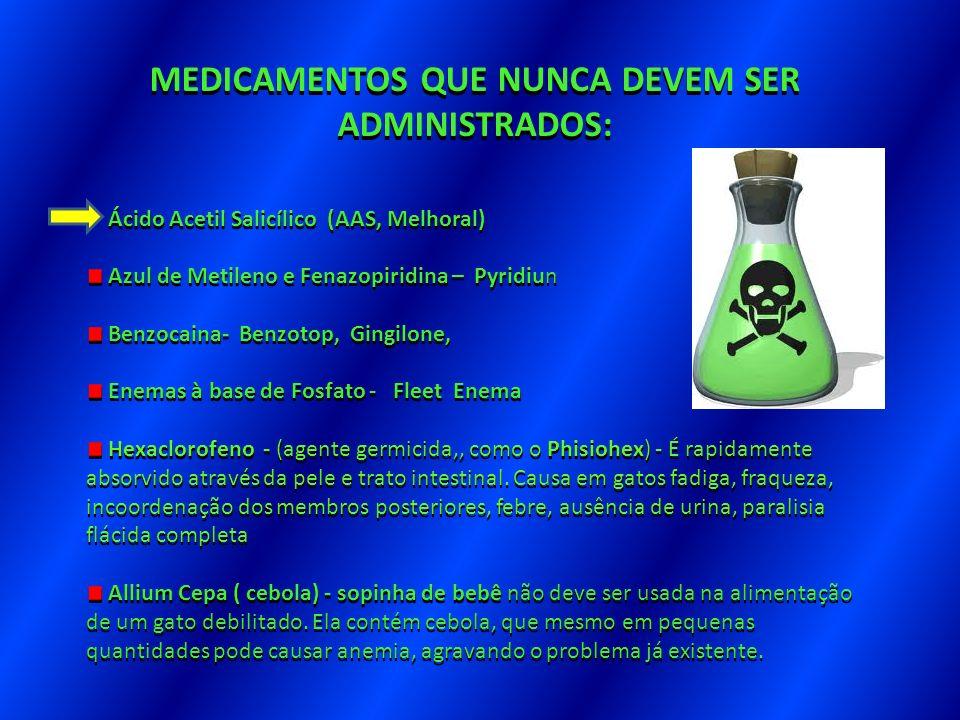MEDICAMENTOS QUE NUNCA DEVEM SER ADMINISTRADOS: