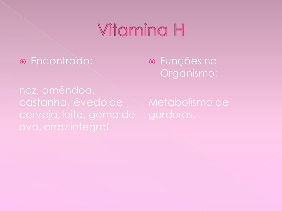 Vitamina H Encontrado: